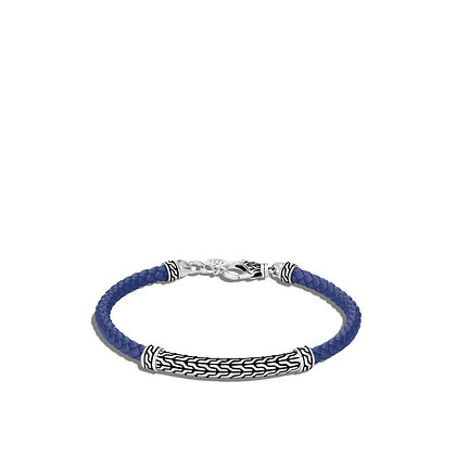 JOHN HARDY Classic Chain Station Blue Woven Leather Bracelet S
