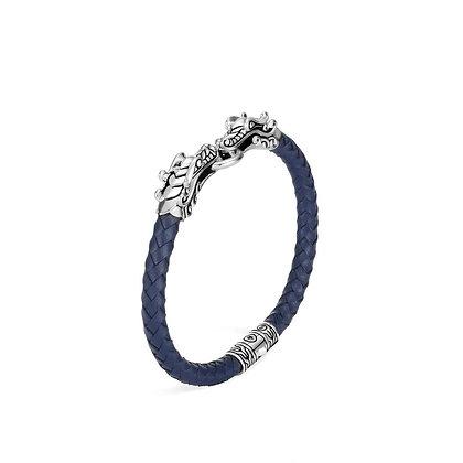 JOHN HARDY Naga Station Bracelet Blue Woven Leather M