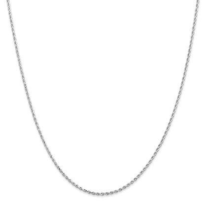 QG 14k White Gold 1.55 Rope Chain
