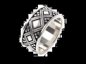 Konstantino SILVER RING/ ENGRAVED DIAMOND PATTERNS