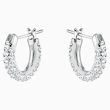 SWAROVSKI Stone Pierced Earrings, White, Rhodium plated