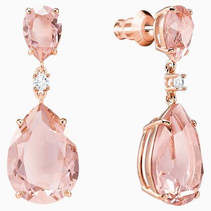 SWAROVSKI Vintage Drop Pierced Earrings, Pink, Rose-gold tone plated