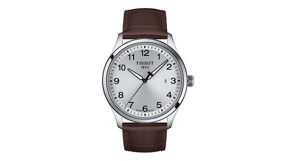 TISSOT GENT XL CLASSIC MEN's WATCH Silver Dial Brown Leather Strap