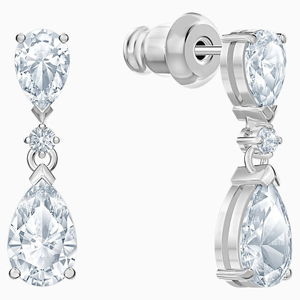 SWAROVSKI Palace Drop Pierced Earrings, White, Rhodium plated