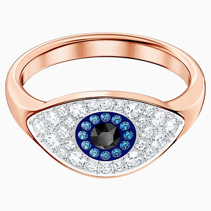 SWAROVSKI Symbolic Evil Eye Ring, Blue, Rose-gold tone plated 6,7,8 and 9