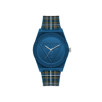 GUESS RETRO POP MEN'S WATCH Blue Dial Silicone Strap