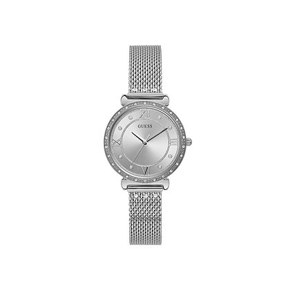 GUESS JEWEL WOMEN'S WATCH Silver Dial Stainless Steel Mesh Band