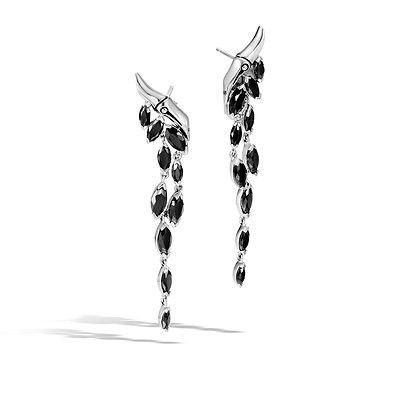 JOHN HARDY Women'S Bamboo Silver Drop Earrings With Black Spinel