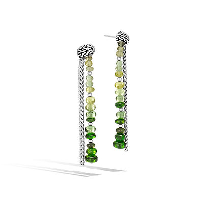 JOHN HARDY Classic Chain Sil Drp Er Grn Apatite Chrm Diopside Peridot Tourmaline