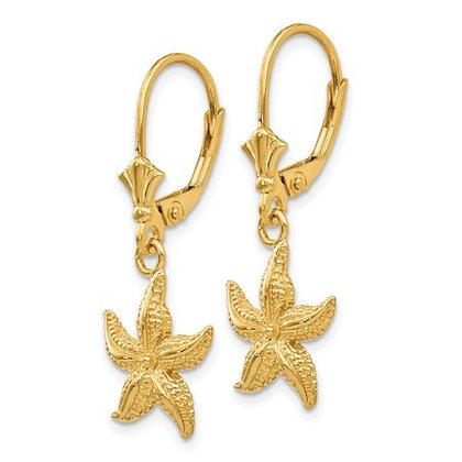 QG 14K Starfish Leverback Earrings