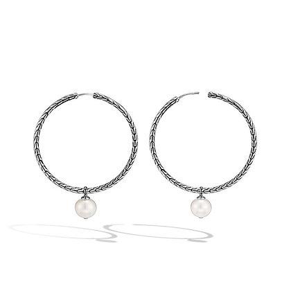 JOHN HARDY Classic Chain Hoop Earring with Freshwater Pearl