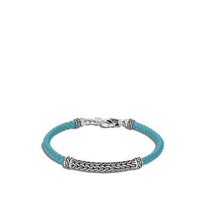 JOHN HARDY Classic Chain Station Turquoise Woven Leather Bracelet S