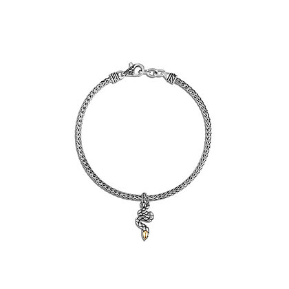 JOHN HARDY Legends Cobra Charm Bracelet with 18k Yellow Gold Accent M 2.5mm