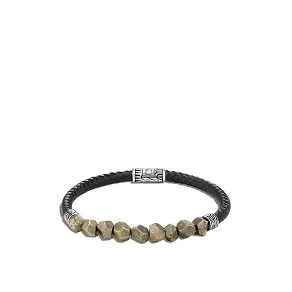 JOHN HARDY Classic Chain Station Bracelet, Pyrite, Leather