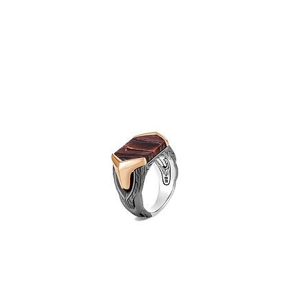 JOHN HARDY Asli Classic Chain Signet Ring with Red Tiger Iron      SZ 10