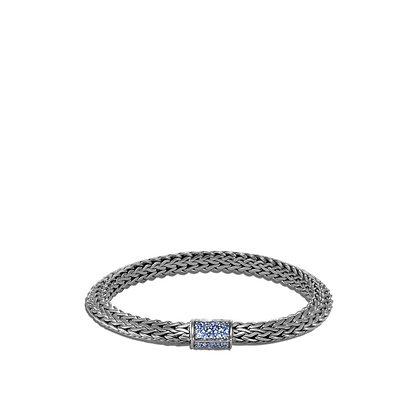 JOHN HARDY Tiga Chain Blackened Bracelet with Blue Sapphire M 6.5mm
