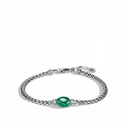JOHN HARDY Classic Chain Bracelet with Malachite and Diamond      M-L  3.5mm