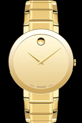 MOVADO MEN'S SAPPHIRE WATCH Gold Tone Dial Yellow Gold PVD
