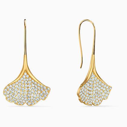 SWAROVSKI  New Stunning Ginko Pierced Earrings, White, Gold-tone plated
