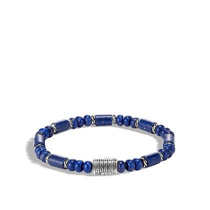 JOHN HARDY Classic Chain Silver Beads Brac W/ Lapis Lazuli M