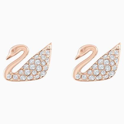 SWAROVSKI Swan Pierced Earrings, White, Rose-gold tone plated