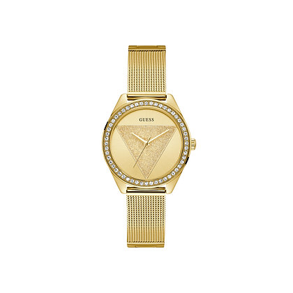 GUESS GLiTZ CRYSTAL WOMENS Gold Tone Dial Gold Plated Stainless Steel Mesh Band