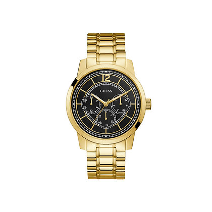 GUESS SKYLiNE MEN'S WATCH Black Dial Multi Function Gold Plated Stainless Steel