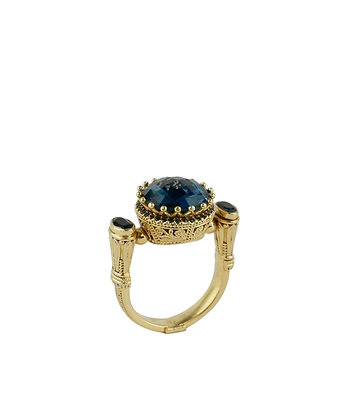Konstantino Blue Topaz/ Blue Sapphire 18k Yellow Gold Ring