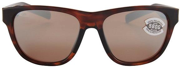 COSTA DEL MAR BAYSIDE Shiny Tortoise/Copper Silver Mirror SUNGLASSES