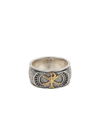 Konstantino Spinel Band Ring Ancient Symbols S11