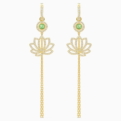 SWAROVSKI  Symbolic Lotus Pierced Earrings, Green, Gold-tone plated