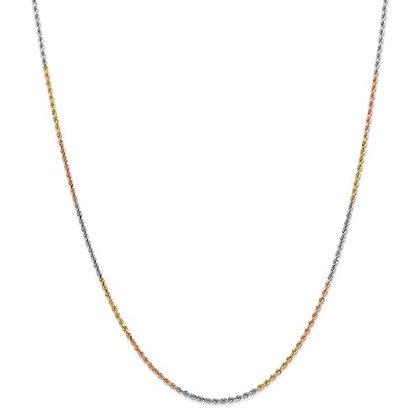 QG 14k Tri-Color 1.75mm D/C Rope Chain