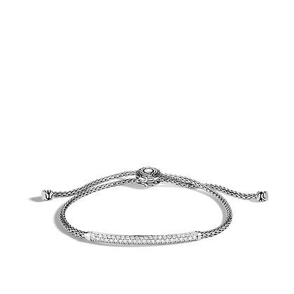 JOHN HARDY Classic Chain Station Pull Through Bracelet with Diamond S-M 2.5mm
