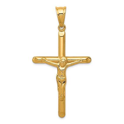 QG 14k Yellow Gold Polished Hollow Crucifix Pendant