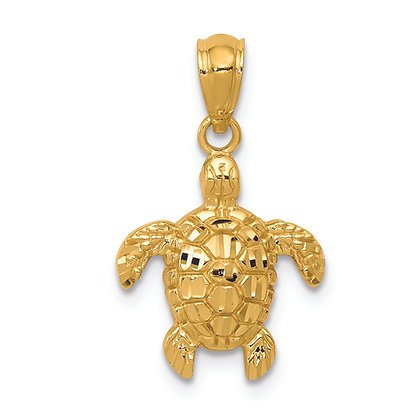 QG 14K Yellow GOLD POLISHED & TEXTURED SMALL DC TURTLE PENDANT