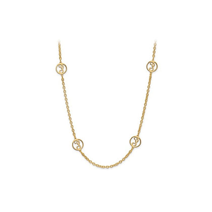 QG Gold Plated/SS Laser Satin Letter Initial Station Necklace With Chain