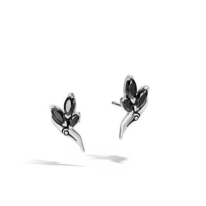 JOHN HARDY Bamboo Silver and Black Spinel Stud Earrings