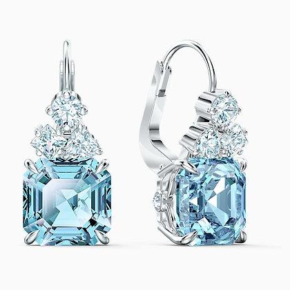 SWAROVSKI  Sparkling Pierced Earrings, Aqua, Rhodium plated