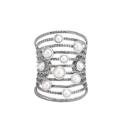 JOHN HARDY Classic Chain Cuff with Mabe Freshwater Pearl M 81.5mm