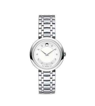 MOVADO Women's 1881 CORE Watch Silver/ White Dial with Precious stones