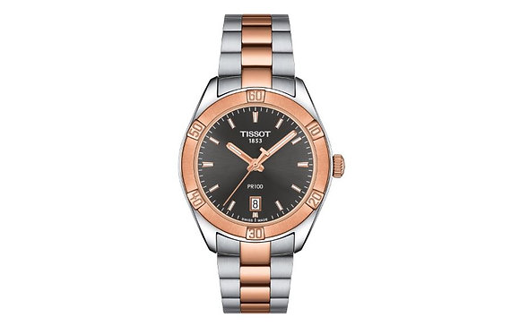 TISSOT PR 100 SPORT CHIC WOMEN'S Anthracite Dial 2 Tone Rose Gold