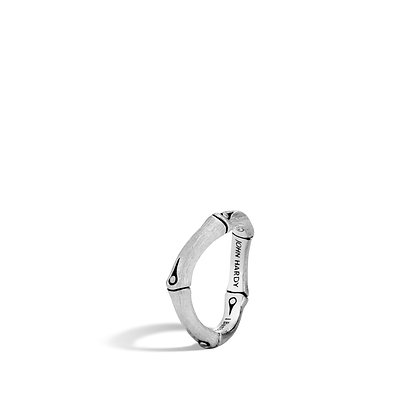 JOHN HARDY Bamboo Silver Curved 4mm Band Ring Brushed Size 7