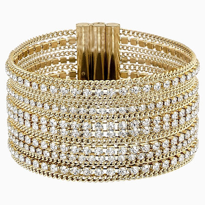 SWAROVSKI Fit Wide Bracelet, White, Gold-tone plated