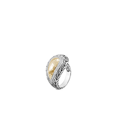 JOHN HARDY Classic Chain Hammered Ring with Diamonds and 18k Yellow Gold