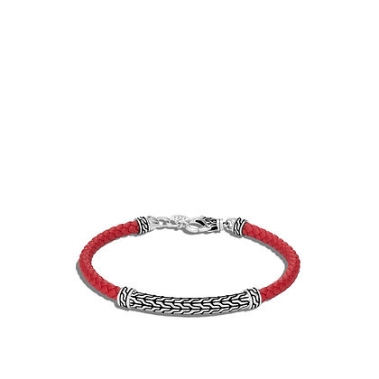 JOHN HARDY Classic Chain Station Red Woven Leather Bracelet S