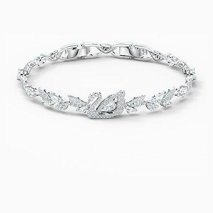 SWAROVSKI  Dancing Swan Bracelet, White, Rhodium plated