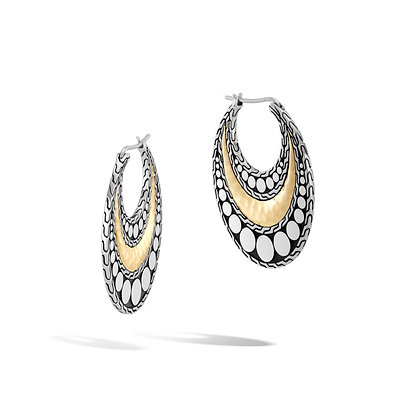 JOHN HARDY Dot Hammered Hoop Earring with 18k Yellow gold Accent
