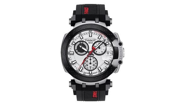 TISSOT T-RACE CHRONOGRAPH MEN's Watch White Dial Black Silicone Strap