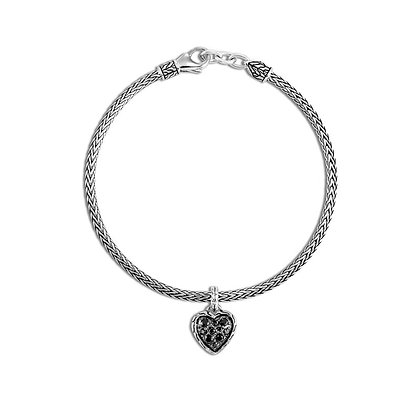 JOHN HARDY Classic Chain Heart Charm Bracelet, Black Sapphire and Spinel