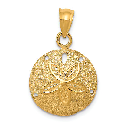 QG 14K Yellow Gold SOLID POLISHED LASER CUT SAND DOLLAR PENDANT